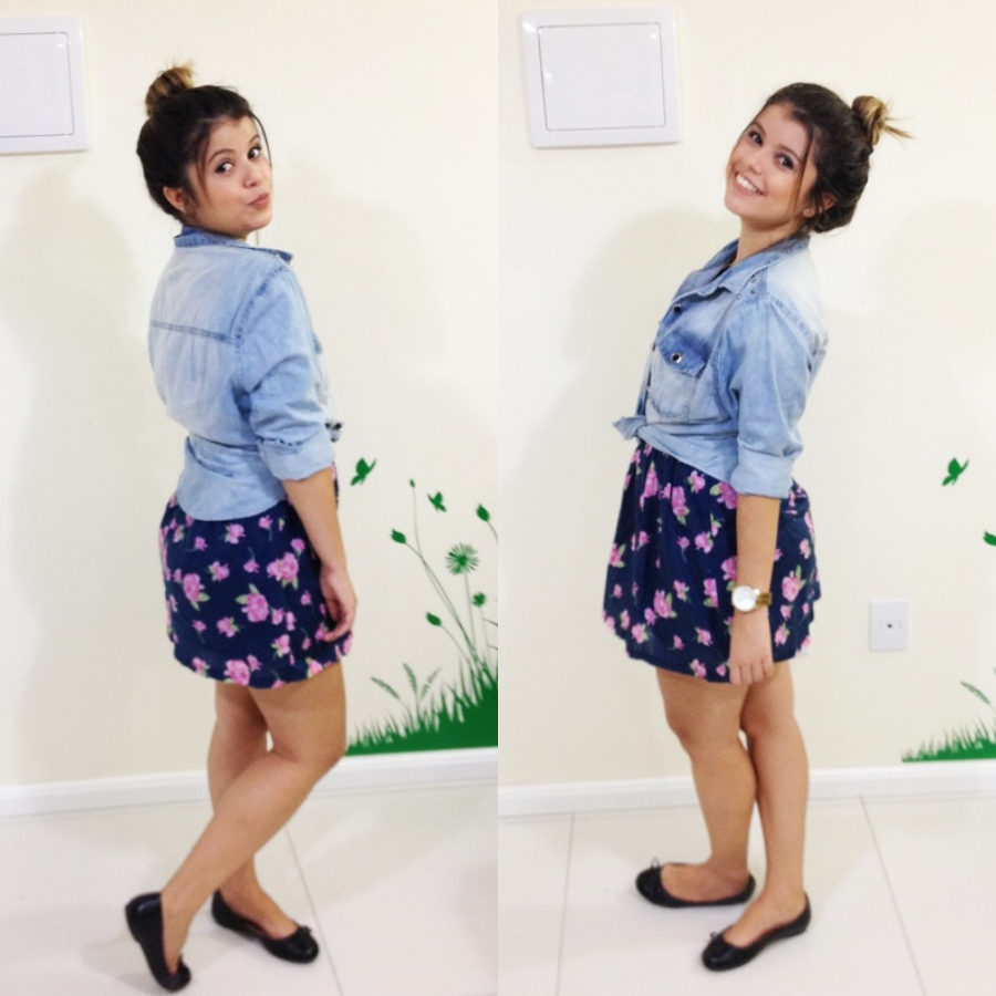 look floral com jeans